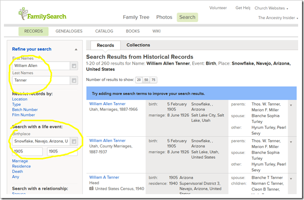 FamilySearch Family Tree can launch a search of historical records