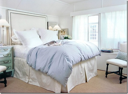 ashley goforth bedroom with light blue coverlet and silk bedskirt