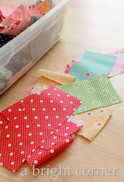 Storing fabric scraps by size