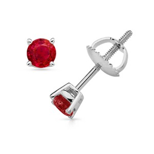 Solitaire Studs With Ruby in 14k White Gold