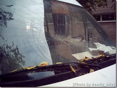 Parabrisas roto de una furgoneta a las puertas del instituto XXV Olimpiada, Barcelona; A.Z., diciembre de 2005