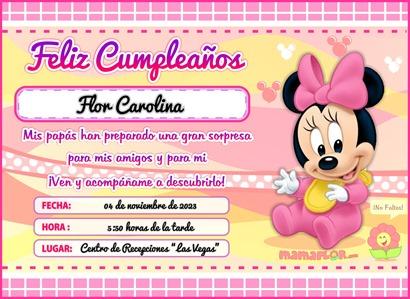 Tarjeta de Cumpleaños de Minnie Mouse Bebé – Invitaciones para ...