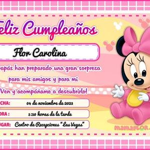Tarjeta de Cumpleaños de Minnie Mouse Bebé – Invitaciones para Imprimir