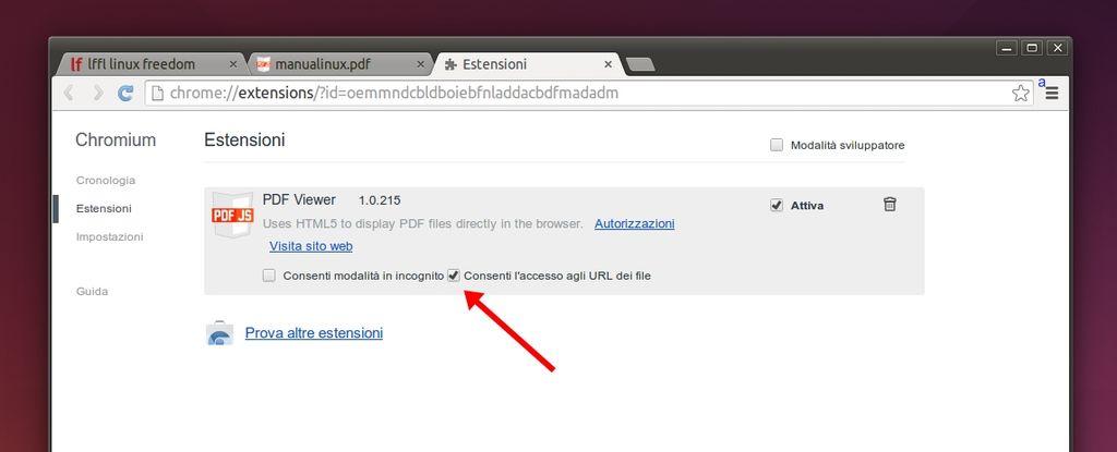 Chromium attivare reader PDF Firefox