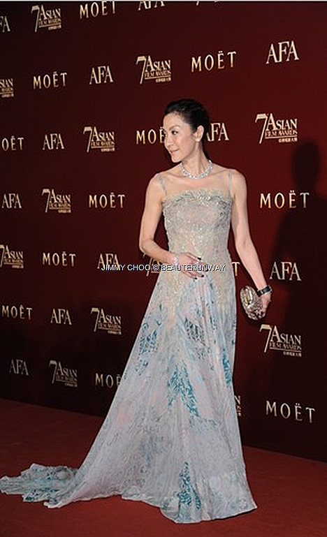 MICHELLE YEOH JIMMY CHOO SHOES BAGS ACCESSORIES PLATFORM SANDAL CLAIRE CLUTCH DIAMONDS HONG KONG RED CARPET Elie Saab Couture gown Fall 2012 collection ASIAN FILM AWARDS Excellence Asian Cinema Crouching Tiger Hidden DragonThe Lady