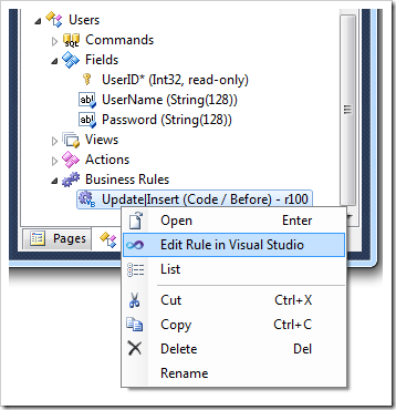 Activating Visual Studio to edit a 'code' business rule