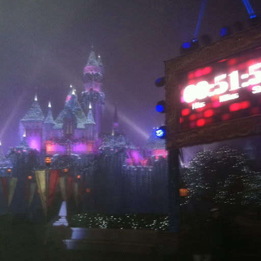 The countdown from Main Street Disneyland. It was a party with dancing, music, and fun!