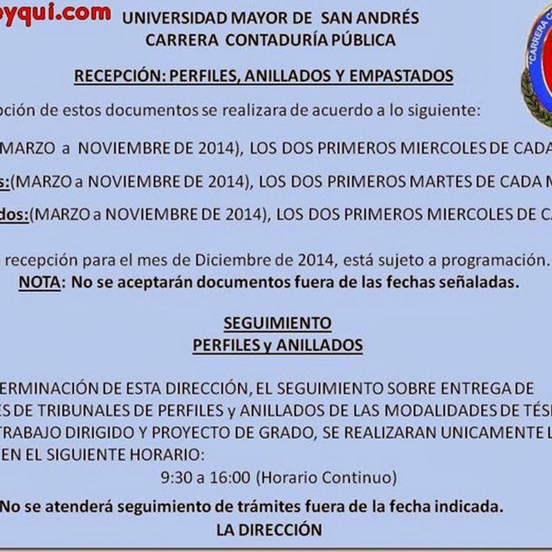 Contaduría Pública: Recepción de perfiles, anillados y empastados 2014 (UMSA)