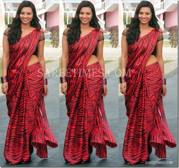 Isha_Chawla_Animal_Print_Saree