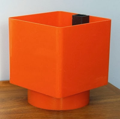 Orange Grosfillex self watering planter side