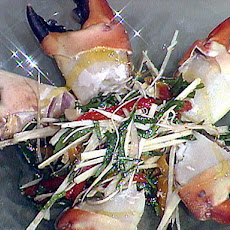 Chilled Stone Crab Claws with a Hearts of Palm Salad and Honey Tangerine Gastrique