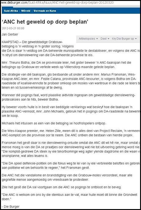 ANC PL;ANNED VIOLENCE IN GRABOUW MAR 21 2012 JAN GERBER DIE BURGER