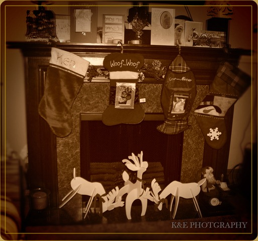 Sepia Fireplace and stockings