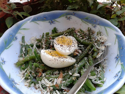 gordon ramsay's green bean salad with a mustard dressing and soft boiled eggs