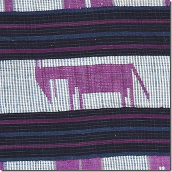 Cloth of the month: C19th Yoruba aso oke with silk oxen motif