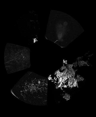 vista panorâmica da superfície do cometa