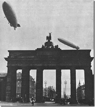 Hindenburg and Graf over Brandenburg Gate b-w