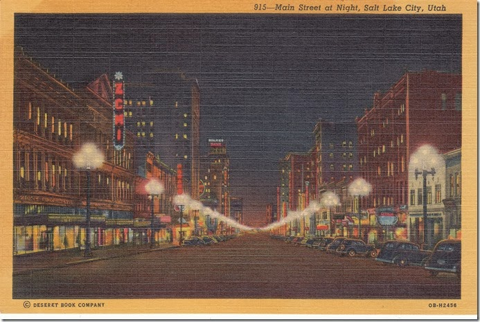 Main Street at Night, Salt Lake City Postcard pg. 1 - 1940
