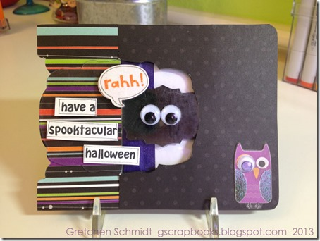 Have a Spooktacular Halloween card with Label Window Pop `n Cuts by @gscrapbooks