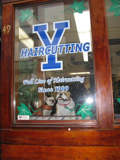 Down the street at Y Haircutting, we spotted our cousin, an English bulldog.  On further inspection, we realized it was a stuffed toy.  Can you believe this place has been in business since 1909?  That's one big pile of hair!