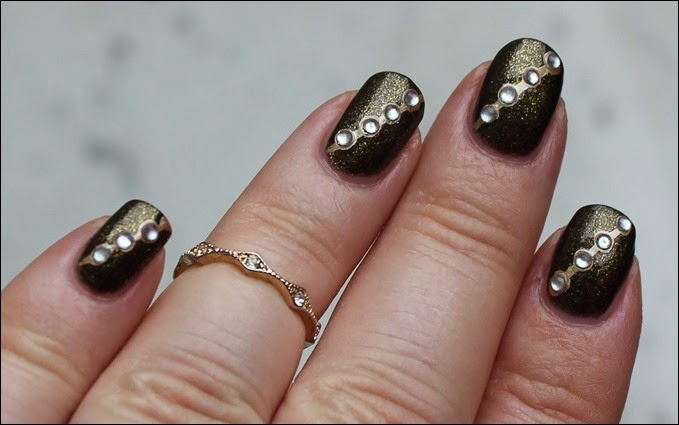 Autumn Nail Art Herbst Nageldesign Gold Bling 05
