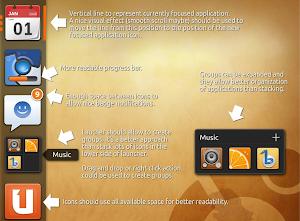 mockup del nuovo launcher per ubuntu unity