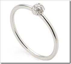 Anel com esfera de ouro branco 18K com diamantes brancos