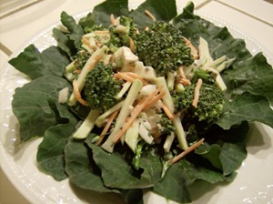 Broccoli Salad on bed of Kohlrabi Greens (640x477)