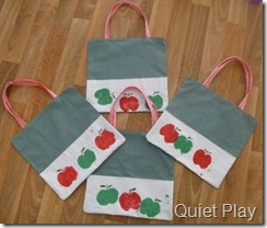 Apple print tote bags