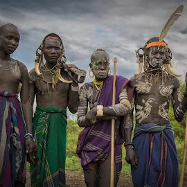 Tribal Warriors by Paul Runze - People Body Art/Tattoos ( omo, 2014 ethiopia, family, warrior x ak47 x valley )