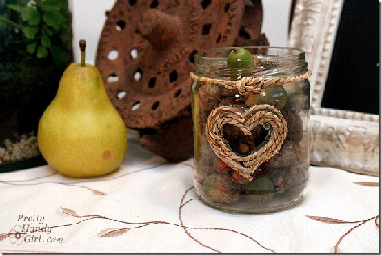 diy projects with jute--glass jar decorated with jute heart and knot