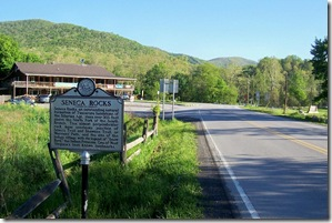 Seneca Rocks marker looking north toward intersection of Route 28 & 33.