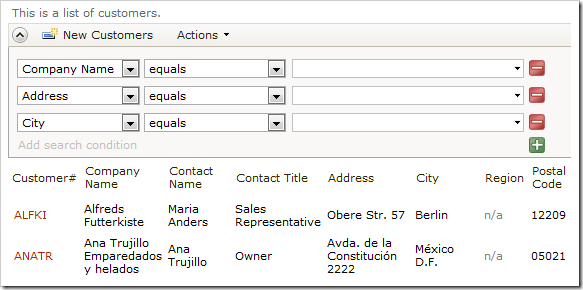Advanced search bar of Customers grid displaying required and suggested fields.