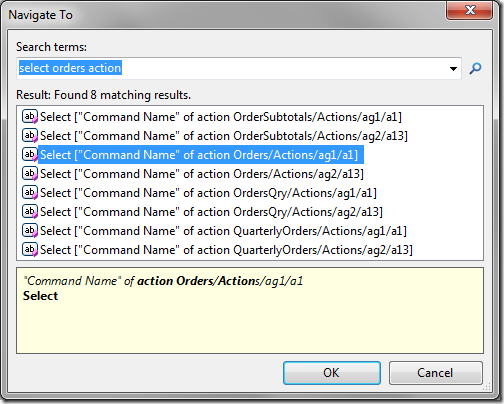 'Navigate To' window showing a list of matched actions.