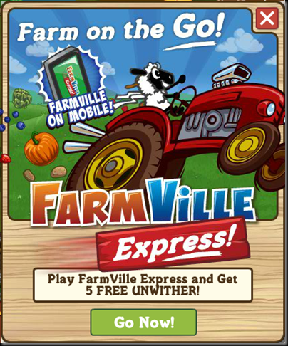 FarmVille Express The In-game Popup