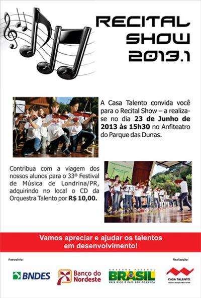 Casa Talento_Cartaz Recital de Alunos Solidários
