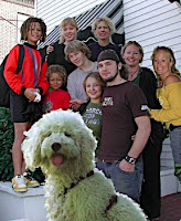 Penelope labradoodle and her family