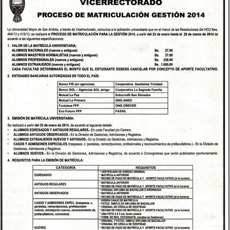 Proceso de Matriculación Gestión 2014 en la UMSA