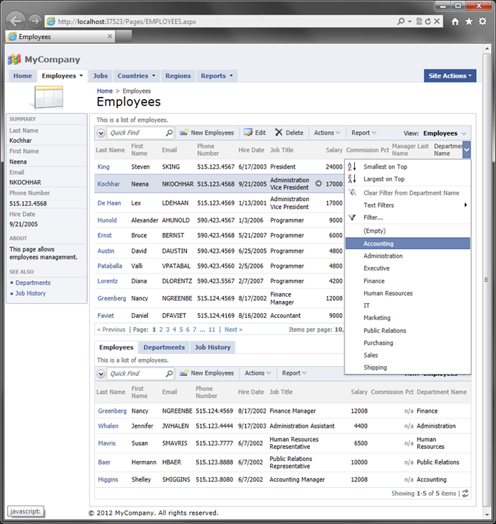Generated web application loaded in the default web browser.
