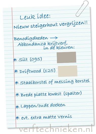 Verftechnieken.nl Steigerhout oud maken - benodigdheden