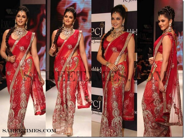 Isha_Koppikar_Red_Designer_Saree