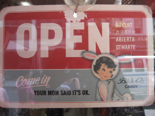 Love the cheeky vintage sign - more treats inside!