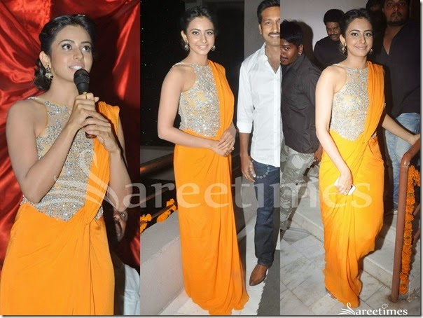 Rakul_Preet_Singh_Orange_Saree