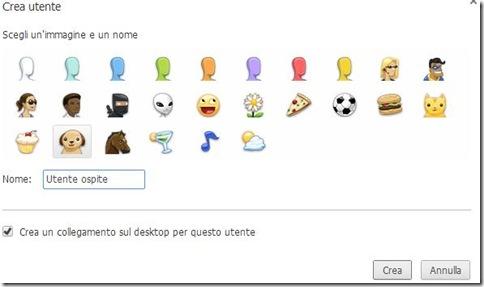 Chrome crea utente