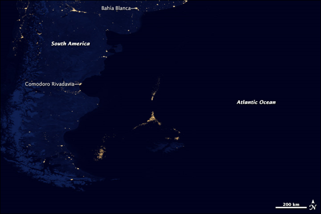 In April 2012, a global composite map of Earth's night lights revealed illegal fishing activity offshore from South America. Photo: NASA Earth Observatory / NOAA National Geophysical Data Center