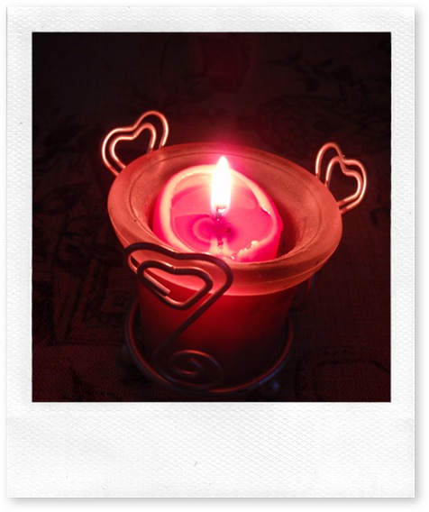 Pink Candle with Hearts
