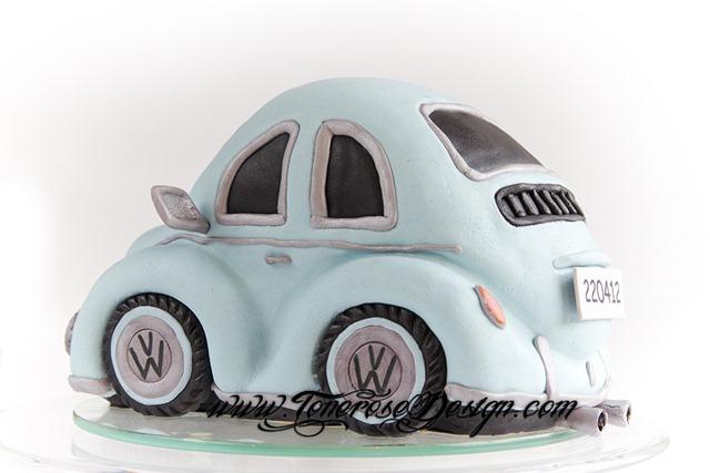 Boblebil kake bilkake barnedåp lyseblå