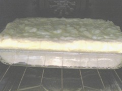 2 ingredient lemon cake in the oven baking