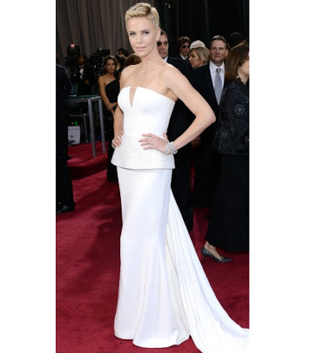 Charlize Theron in Christian Dior Haute Couture with Harry Winston jewels.