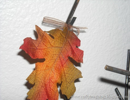 Fall leaves with ribbon